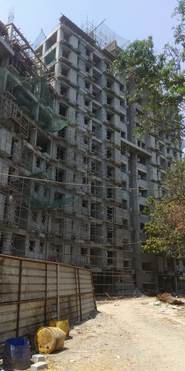 Block 1:  Above roof structural work going on, brick work of 11th floor going on, block work completed upto 10th floor, inside plastering work going on for 5th - 8th floor, inside plumbing work going on as on 31/3/2020