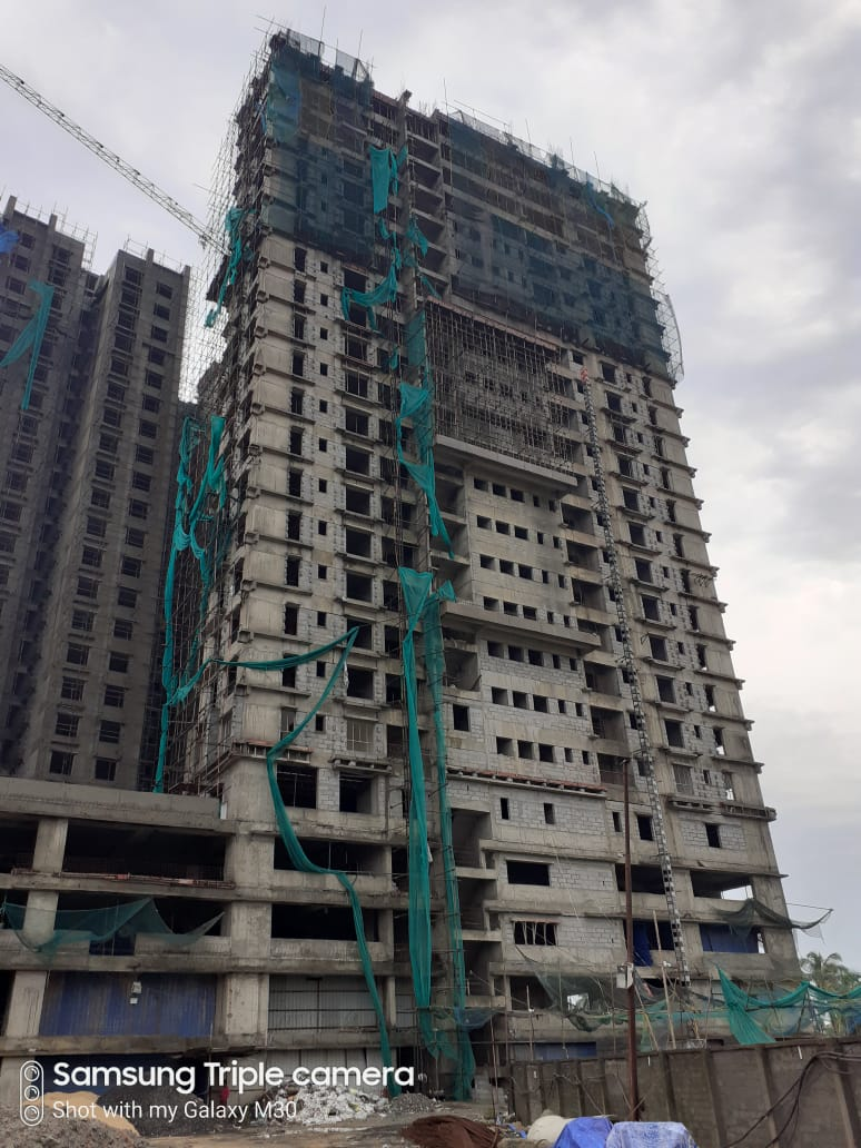 Block 2: Structure work of 24th floor in progress; 20th floor block work (AAC) is completed; Internal plaster of 16th floor completed; Electrical work of 18th floor, plumbing work of 6th floor & 5th floor fire work  is completed as on 1/07/2020