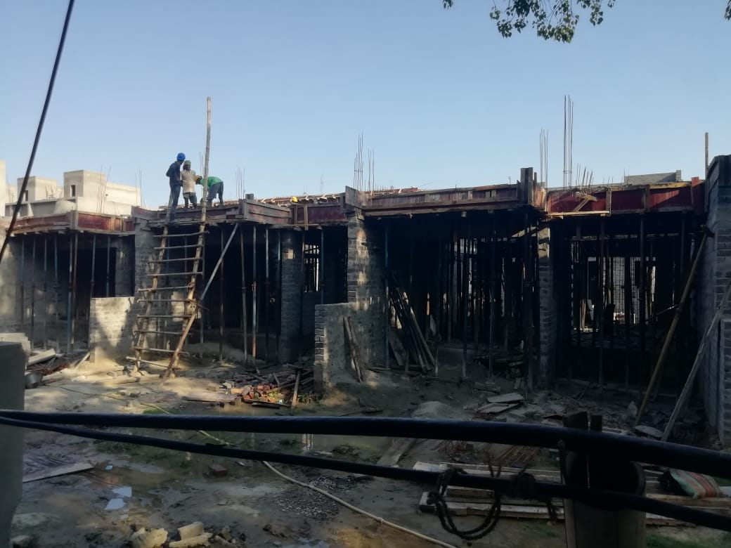 1st floor slab casting of row house no. 150, 151 & 152  have been completed as on 19.05.2021