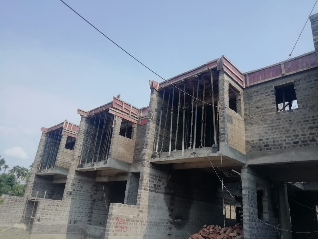 roof slab casting of row house no. 101, 102 and 103 have been completed as on 04.06.2021