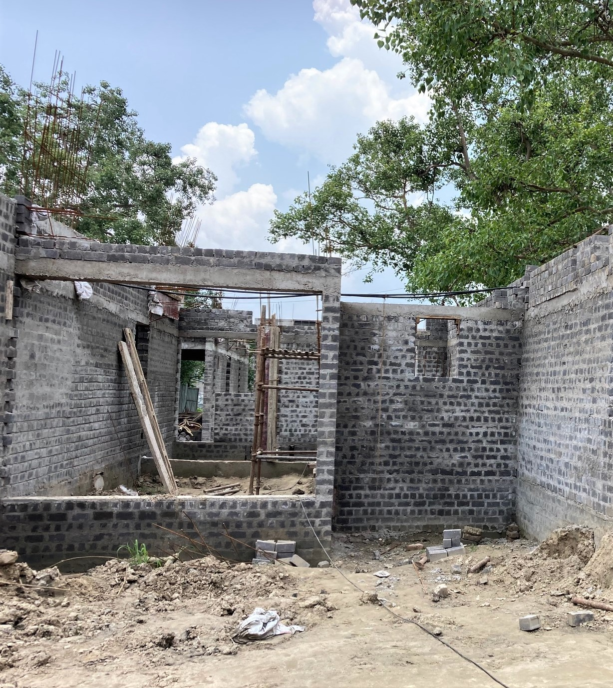 foundation of row house no. 115 of cluster 27 have been completed as on 04.06.2021