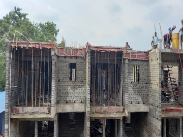 roof slab casting of row house no. 163 and 164 have been completed as on 10.06.2021